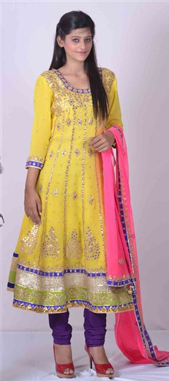 400961, Anarkali Suits, Georgette, Gota Patti, Yellow Color Family