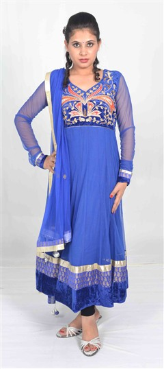 400965, Anarkali Suits, Net, Gota Patti, Blue Color Family