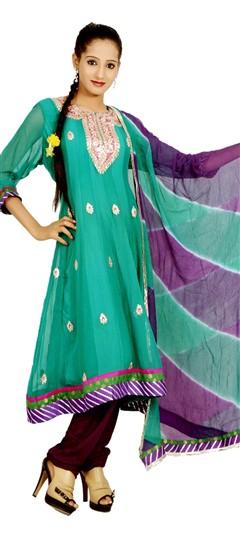400966, Anarkali Suits, Georgette, Gota Patti, Green Color Family