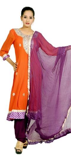 400967, Anarkali Suits, Georgette, Gota Patti, Orange Color Family