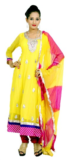 400968, Anarkali Suits, Georgette, Gota Patti, Yellow Color Family