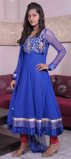 400969, Anarkali Suits, Net, Gota Patti, Blue Color Family