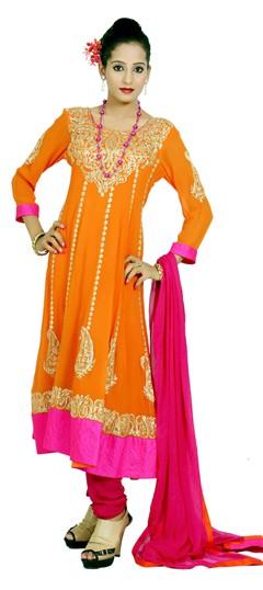 400980, Anarkali Suits, Georgette, Gota Patti, Pitton, Orange Color Family