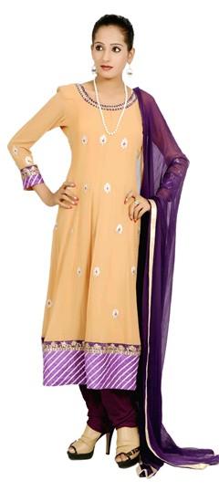400983, Anarkali Suits, Georgette, Gota Patti, Pitton, Gold Color Family