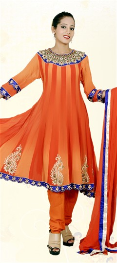 401823, Anarkali Suits, Georgette, Zardozi, Orange Color Family