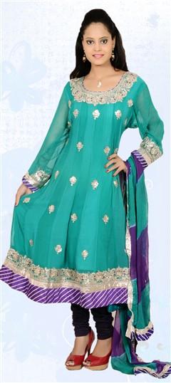 401835, Anarkali Suits, Faux Georgette, Gota Patti, Green Color Family