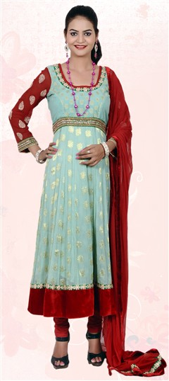 401838, Anarkali Suits, Georgette, Chanderi, Kundan, Blue Color Family