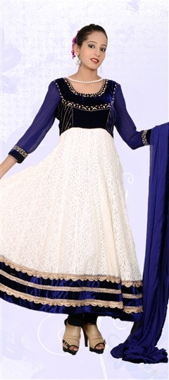 401841, Anarkali Suits, Net, Zardozi, White and Off White Color Family