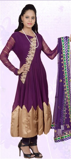 401844, Anarkali Suits, Faux Georgette, Zardozi, Purple and Violet Color Family