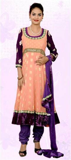 401845, Anarkali Suits, Georgette, Chanderi, Sequence, Kundan, Valvet, Patch, Border, Lace, Orange Color Family