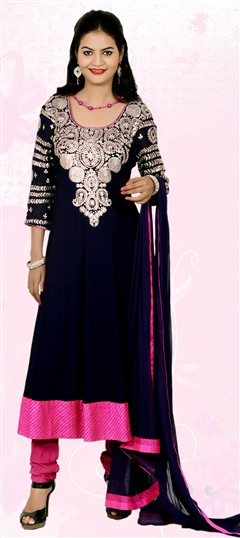 401847 Blue  color family Anarkali Suits in Faux Georgette fabric with Kasab work .