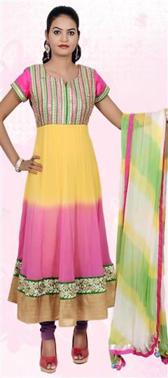 401853, Anarkali Suits, Faux Georgette, Machine Embroidery, Gota Patti, Multicolor Color Family