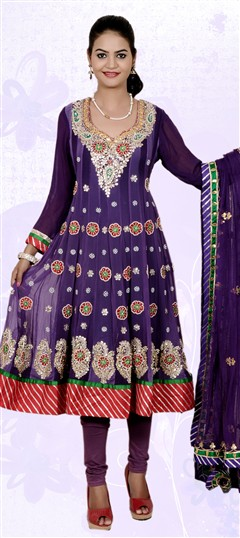 401856, Anarkali Suits, Faux Georgette, Gota Patti, Purple and Violet Color Family