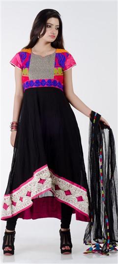 402268 Black and Grey  color family Party Wear Salwar Kameez in Georgette fabric with Border work .