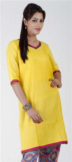 402270, Cotton Kurtis, Cotton, Pleats, Yellow Color Family