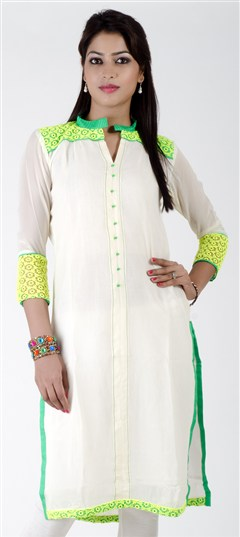 402272, Kurti, Georgette, Lace, White and Off White Color Family