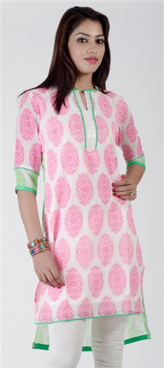 402276, Printed Kurtis, Georgette, Printed, White and Off White Color Family