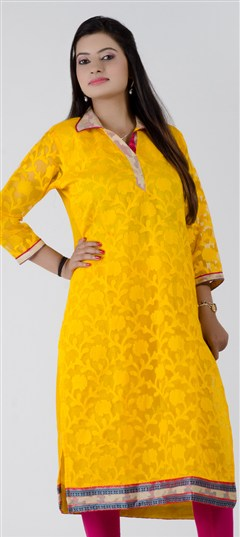 402279, Long Kurtis, Chanderi, Lace, Yellow Color Family