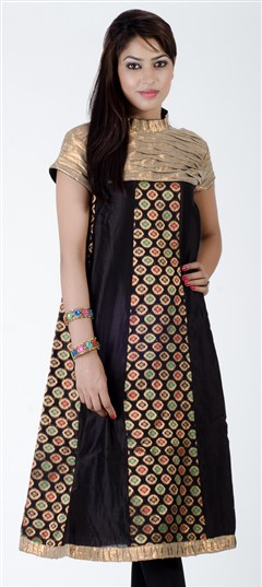 402284, Kurti, Jacquard, Lace, Black and Grey Color Family