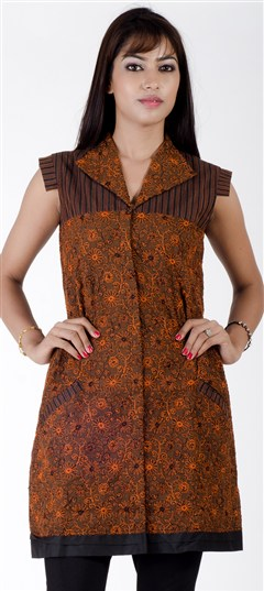 402289, Cotton Kurtis, Cotton, Machine Embroidery, Thread, Beige and Brown Color Family