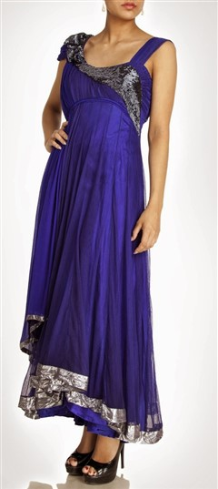 404591, Anarkali Suits, Net, Stone, Bugle Beads, Sequence, Purple and Violet Color Family