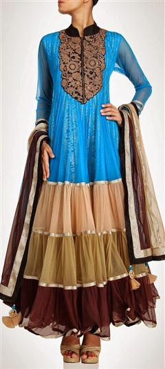 404592, Anarkali Suits, Net, Stone, Bugle Beads, Sequence, Multicolor Color Family