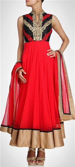 404600, Party Wear Salwar Kameez, Net, Stone, Bugle Beads, Sequence, Red and Maroon Color Family