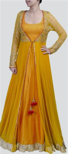 404604 Yellow  color family Anarkali Suits in Art Dupion Silk,Net fabric with Bugle Beads,Sequence,Stone work .