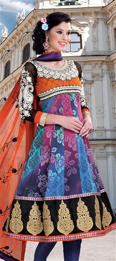 405309, Anarkali Suits, Faux Georgette, Patch, Zari, Machine Embroidery, Resham, Multicolor Color Family