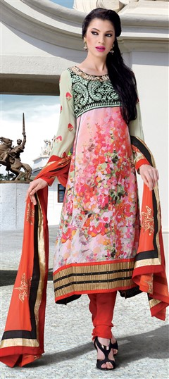 405318, Party Wear Salwar Kameez, Faux Georgette, Patch, Zari, Machine Embroidery, Resham, Orange Color Family