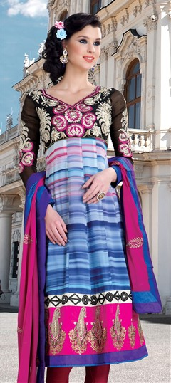 405319, Party Wear Salwar Kameez, Faux Georgette, Patch, Zari, Printed, Machine Embroidery, Resham, Blue Color Family