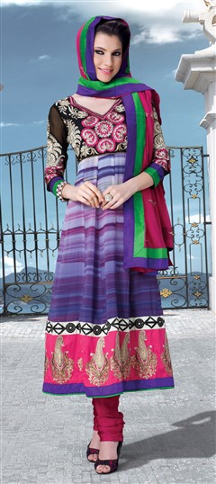 405320, Party Wear Salwar Kameez, Faux Georgette, Patch, Zari, Machine Embroidery, Resham, Purple and Violet Color Family