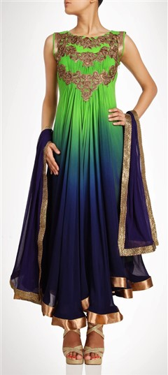 407900 Blue,Green  color family Party Wear Salwar Kameez in Georgette fabric with Bugle Beads,Sequence,Stone work .