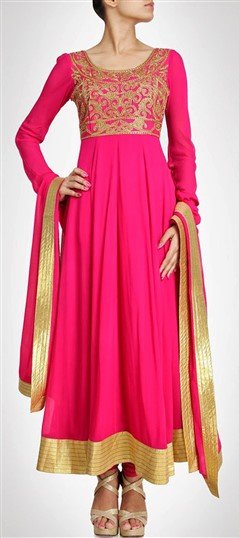 407911 Pink and Majenta  color family Party Wear Salwar Kameez in Georgette fabric with Bugle Beads,Sequence,Stone work .