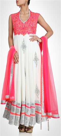 407915, Party Wear Salwar Kameez, Georgette, Stone, Bugle Beads, Sequence, Pink and Majenta, White and Off White Color Family