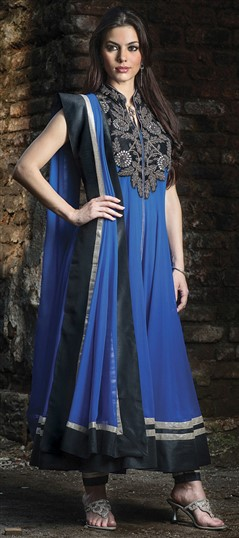 407928, Party Wear Salwar Kameez, Georgette, Stone, Bugle Beads, Sequence, Blue Color Family