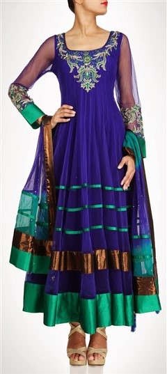 407933, Party Wear Salwar Kameez, Net, Stone, Bugle Beads, Sequence, Purple and Violet Color Family