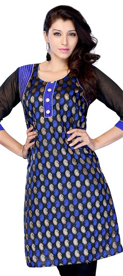 408360, Printed Kurtis, Georgette, Printed, Black and Grey Color Family