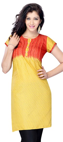 408365, Printed Kurtis, Jacquard, Printed, Red and Maroon, Yellow Color Family