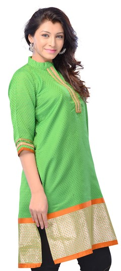 408417, Long Kurtis, Art Silk, Printed, Green Color Family