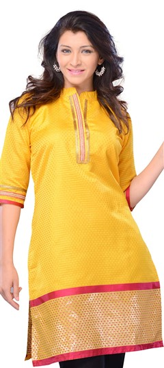 408418, Long Kurtis, Art Silk, Printed, Yellow Color Family