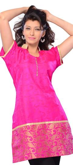 408423, Long Kurtis, Jacquard, Printed, Pink and Majenta Color Family