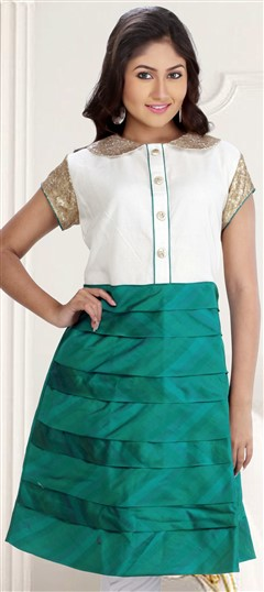 410093, Long Kurtis, Silk, Cotton, Chanderi, Sequence, Green, White and Off White Color Family