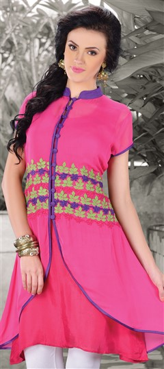 410352 Pink and Majenta  color family Kurti in Georgette fabric with Machine Embroidery,Thread work .