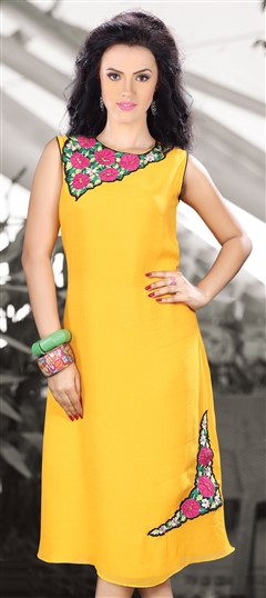 410361 Yellow  color family Kurti in Georgette fabric with Machine Embroidery,Patch,Thread work .