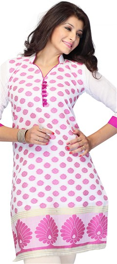 410791, Cotton Kurtis, Jacquard, Printed, White and Off White Color Family