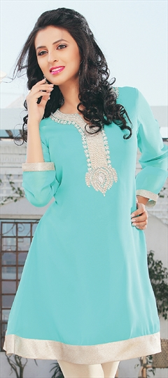 410971 Blue  color family Kurti in Georgette,Satin fabric with Lace,Patch work .