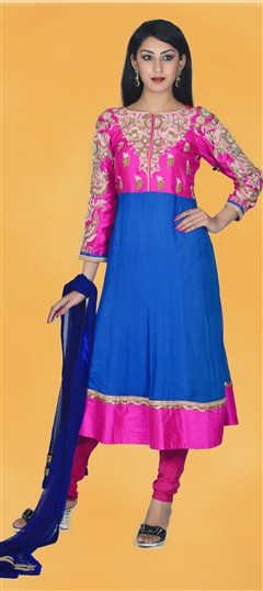 411316, Anarkali Suits, Georgette, Silk, Zari, Kasab, Thread, Sequence, Blue, Pink and Majenta Color Family