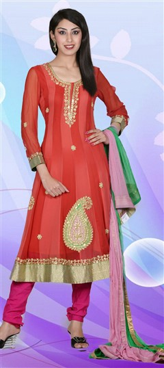 411317, Party Wear Salwar Kameez, Georgette, Zardozi, Sequence, Red and Maroon Color Family