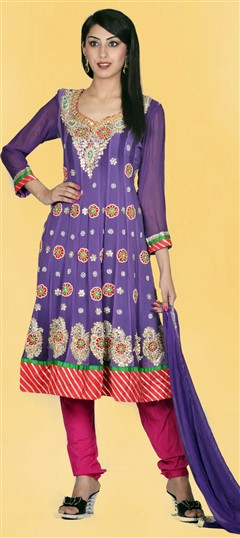 411319, Party Wear Salwar Kameez, Georgette, Gota Patti, Kundan, Moti, Zari, Thread, Purple and Violet Color Family